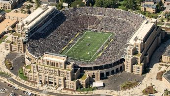 Sep 2, 2017; South Bend, IN, USA; An aerial view of Notre Dame Stadium during the game between the Notre Dame Fighting Irish and the Temple Owls. Mandatory Credit: Matt Cashore-USA TODAY Sports